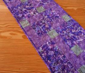 Quilted Table Runner Purple Passion