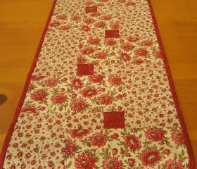 Quilted Table Runner Red and Tan