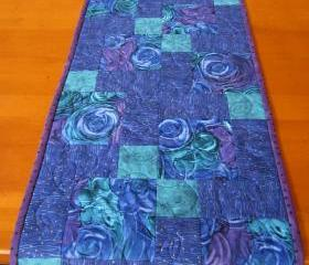 Patchwork Table Runner, Blue Runner