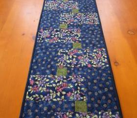 Quilted Table Runner, Flowers with Blue