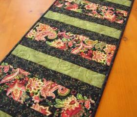 Paisley Striped Quilted Table Runner