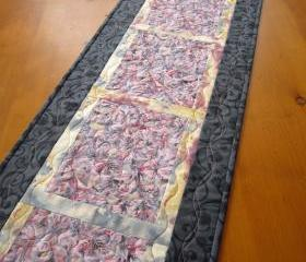Patchwork Table Runner Gray and Pink