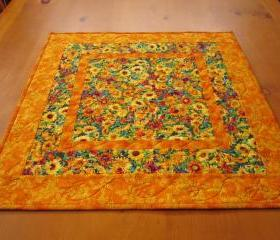 Quilted Table Topper Floral Frenzy