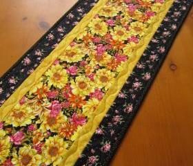Quilted Table Runner Yellow Floral