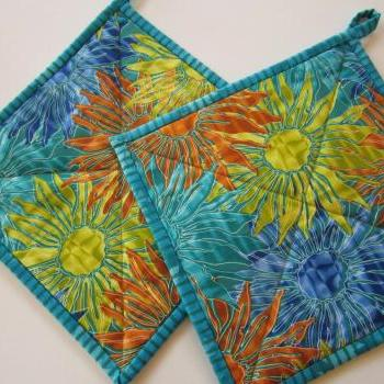 Pot Holders Sunburst Flower