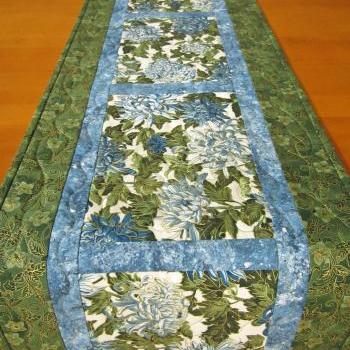 Quilted Table Runner, Patchwork Runner Blue Floral